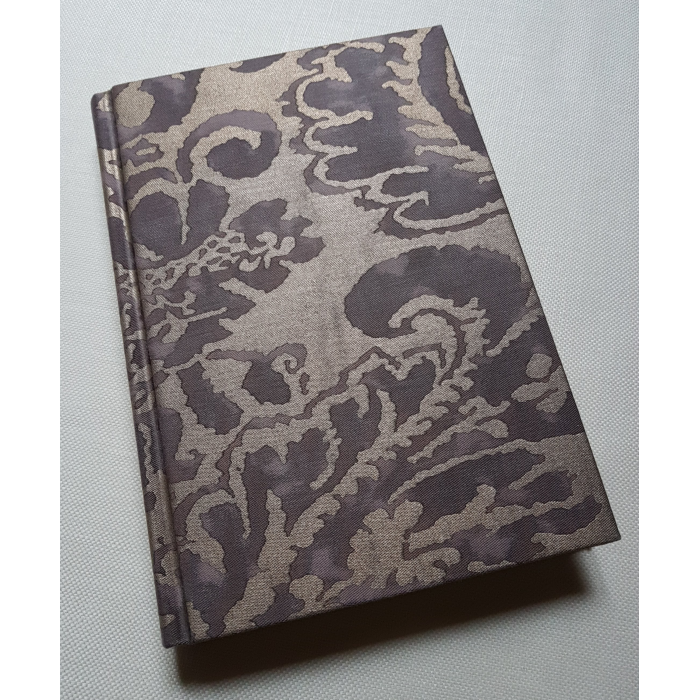 Fortuny Fabric Covered Journal Hardcover Notebook Grey & Silvery Gold Corone Pattern