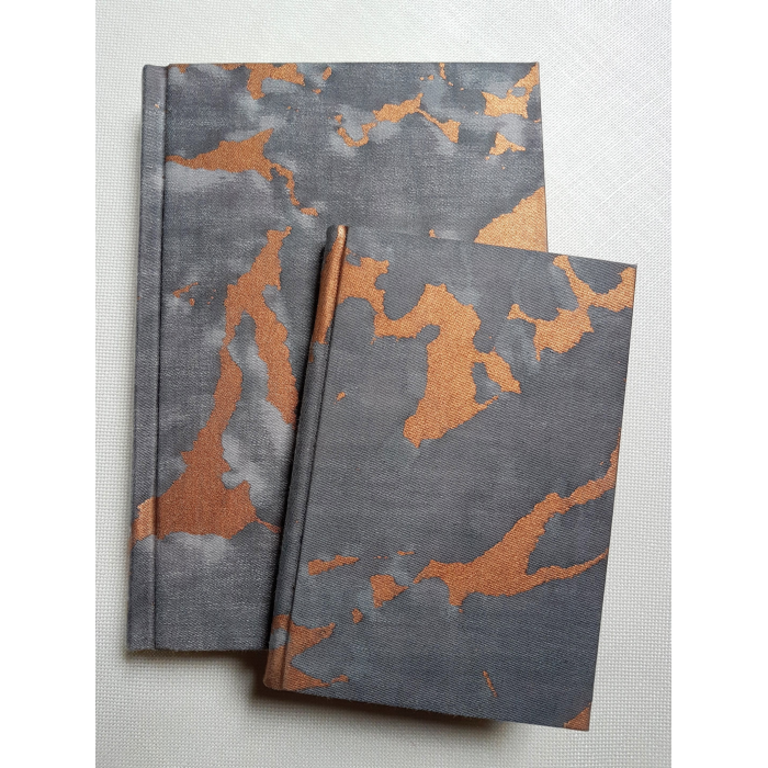 Fortuny Fabric Covered Journal Hardcover Notebook Black, Grey & Copper Marmo Pattern