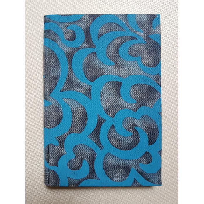 Quaderno con Copertina Rivestita in Tessuto Fortuny Nuvole Azzurro e oro
