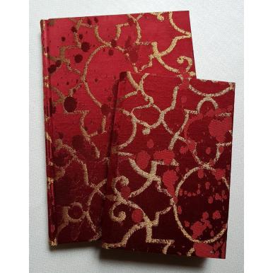 Carnet de Notes Couverture Tissu Lampas de Soie Rubelli Morosini Rouge et Or