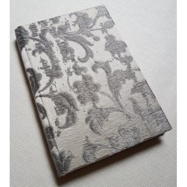 Carnet de Notes Couverture Tissu Jacquard de Soie Rubelli Les Indes Galantes Ivoire et Argent