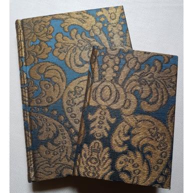 Rubelli Fabric Covered Journal Hardcover Notebook Silk Brocatelle Blue & Gold Tebaldo Pattern
