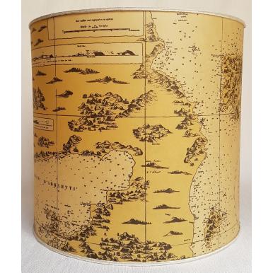 Abat Jour Cylindrique en Carte Géographique sur Parchemin