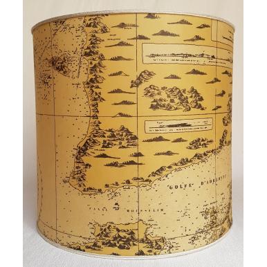 Paralume Cilindro in Pergamena Geografica