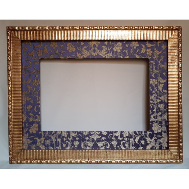 Gilt Gold Leaf Carved Wooden Frame with Rubelli Fabric Hand-Wrapped Passepartout Purple & Gold Les Indes Galantes Pattern