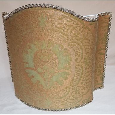 Venetian Lamp Shade Fortuny Fabric Orsini Bayou Green & Gold Half Lampshade