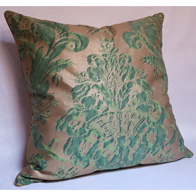 Throw Pillow Cushion Cover Fortuny Fabric Green & Silvery Gold Olimpia Pattern