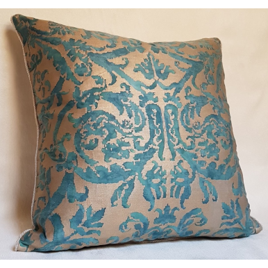 Fortuny Fabric Throw Pillow Cushion Cover Blue-Green & Silvery Gold Farnese Pattern