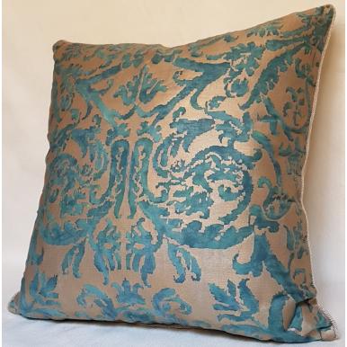 Fodera per Cuscino in Tessuto Fortuny Farnese Blu-Verde e Oro