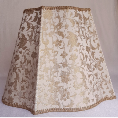 Fancy Rectangular Lamp Shade Ivory and Gold Silk Jacquard Rubelli Fabric Les Indes Galantes Pattern