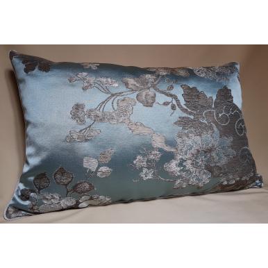 Fodera per Cuscino in Tessuto Broccato di Seta Rubelli Lady Hamilton Azzurro e Argento