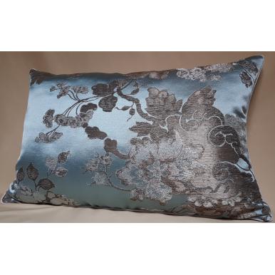 Lumbar Throw Pillow Cushion Cover Silk Brocade Rubelli Fabric Aqua Blue and Silver Lady Hamilton Pattern