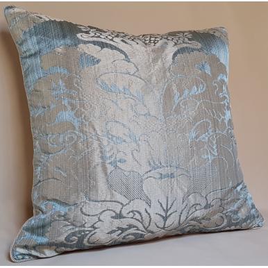 Pure Silk Pillow Case Crinkled Damask Rubelli Fabric Aqua Blue San Marco Pattern