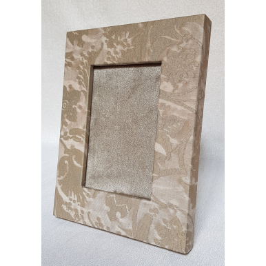 Fortuny Fabric Covered Tabletop Picture Photo Frame Mushroom & Silvery Gold Persepolis Pattern