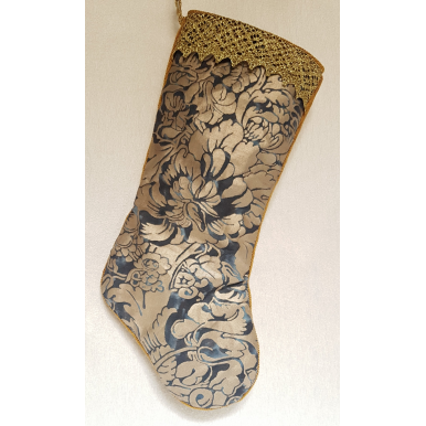Luxury Christmas Stocking Fortuny Fabric Midnight Blue & Silvery Gold Dandolo Pattern