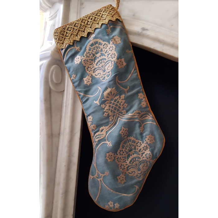 Luxury Christmas Stocking Fortuny Fabric Blue & Silvery Gold Veronese Pattern