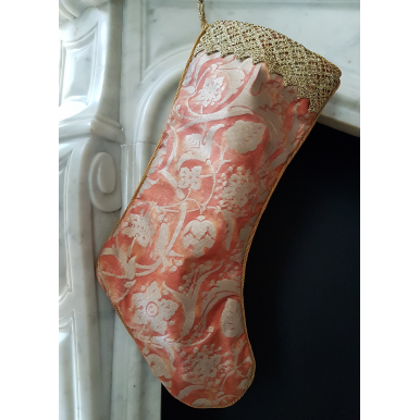 Luxury Christmas Stocking Fortuny Fabric Bittersweet & Silvery Gold Persepolis Pattern