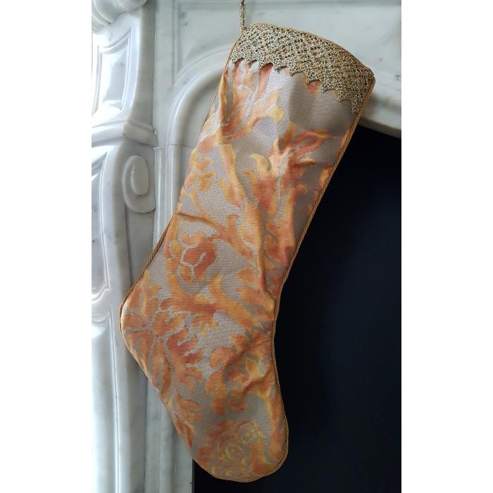 Chaussette de Noël Fait Main en Tissu Fortuny Barberini Orange et Or