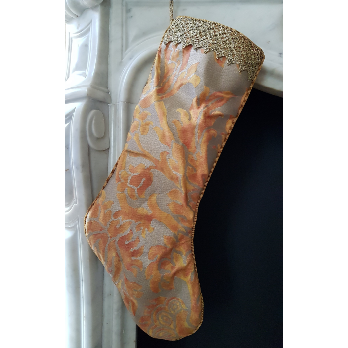 Luxury Christmas Stocking Fortuny Fabric Burnt Apricot & Silvery Gold Barberini Pattern