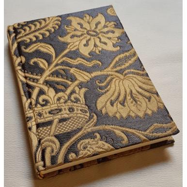 Quaderno con Copertina Rivestita in Tessuto Broccatello di Seta Rubelli Castiglione Ebano e Oro