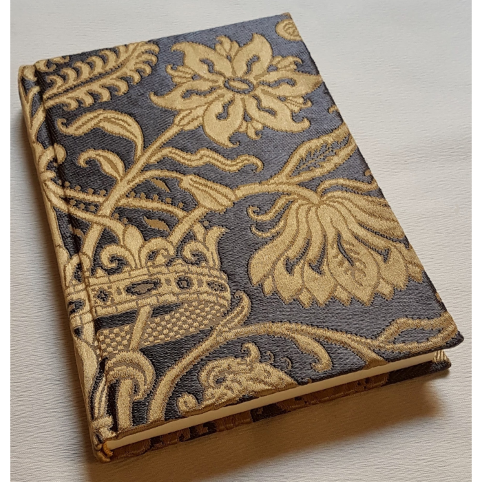 Rubelli Fabric Covered Journal Hardcover Notebook Silk Brocatelle Ebony & Gold Castiglione Pattern