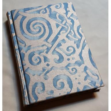 Carnet de Notes Couverture Tissu Fortuny Maori Bleu et Or