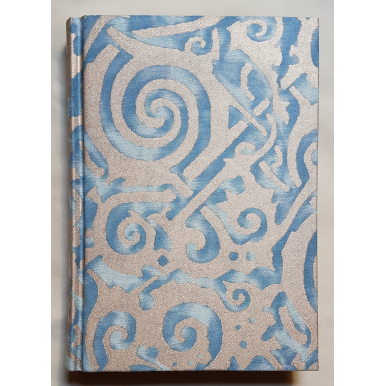 Fortuny Fabric Covered Journal Hardcover Notebook Blue & Silvery Gold Maori Pattern