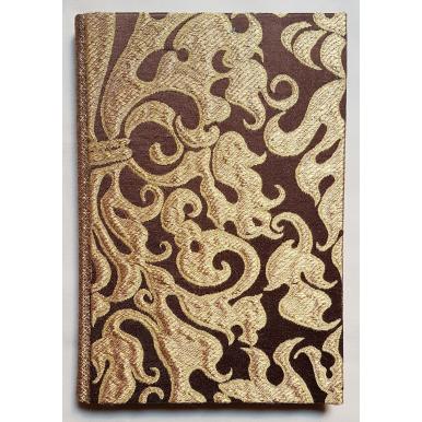 Quaderno con Copertina Rivestita in Tessuto Lampasso di Seta Rubelli Belisario Marrone e Oro
