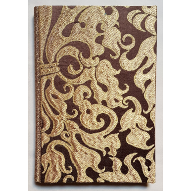 Rubelli Fabric Covered Journal Hardcover Notebook Silk Lampas Brown & Gold Belisario Pattern