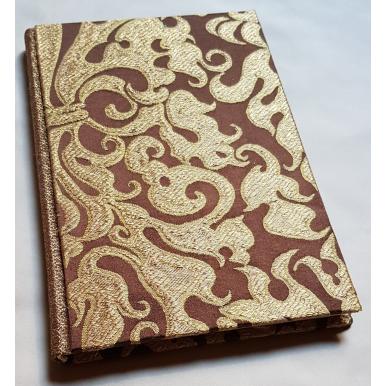 Carnet de Notes Couverture Tissu Lampas de Soie Rubelli Belisario Marron et Or