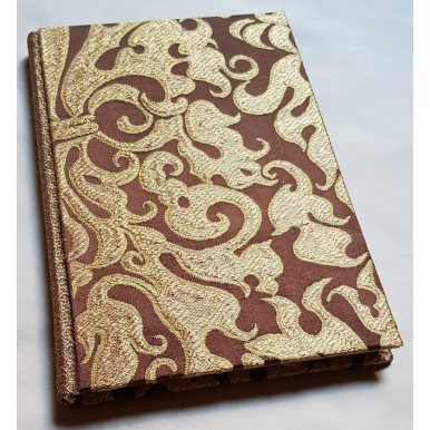 Rubelli Fabric Covered Journal Hardcover Notebook Silk Lampas Ruby Brown & Gold Belisario Pattern