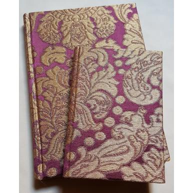 Carnet de Notes Couverture Tissu Brocatelle de Soie Rubelli Tebaldo Améthyste et Or