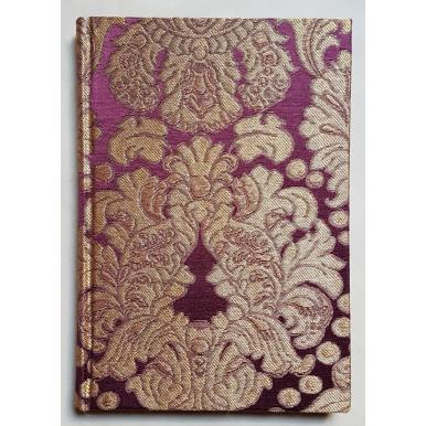 Rubelli Fabric Covered Journal Hardcover Notebook Silk Brocatelle Amethyst & Gold Tebaldo Pattern