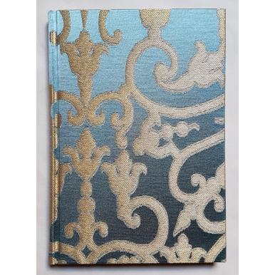 Rubelli Fabric Covered Journal Hardcover Notebook Silk Jacquard Blue & Gold Serlio Pattern