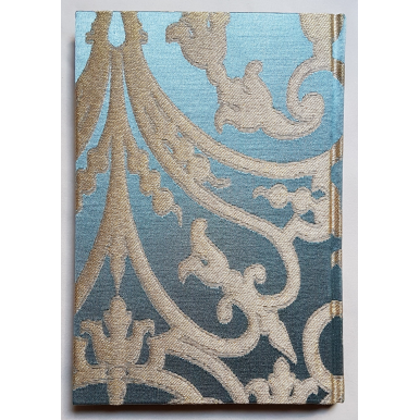 Rubelli Fabric Covered Journal Hardcover Notebook Silk Jacquard Blue & Gold Serlio Pattern