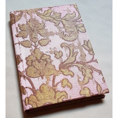 Rubelli Fabric Covered Journal Hardcover Notebook Silk Jacquard Pink & Gold Les Indes Galantes Pattern