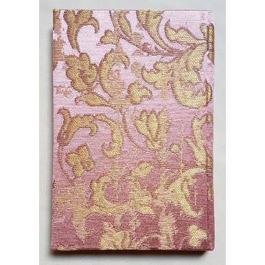 Quaderno con Copertina Rivestita in Tessuto Jacquard di Seta Rubelli Les Indes Galantes Rosa e Oro