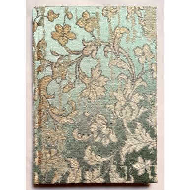 Quaderno con Copertina Rivestita in Tessuto Jacquard di Seta Rubelli Les Indes Galantes Verde e Oro