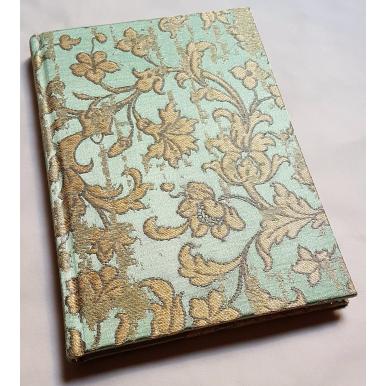 Carnet de Notes Couverture Tissu Jacquard de Soie Rubelli Les Indes Galantes Vert et Or