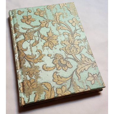 Rubelli Fabric Covered Journal Hardcover Notebook Silk Jacquard Green & Gold Les Indes Galantes Pattern
