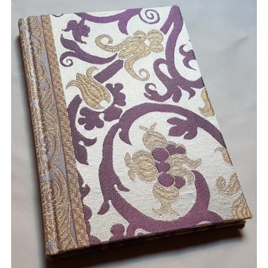 Carnet de Notes Couverture Tissu Lampas de Soie Rubelli Vignola Vert Ivoire et Or