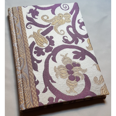 Rubelli Fabric Covered Journal Hardcover Notebook Silk Lampas Jade Ivory & Gold Vignola Pattern