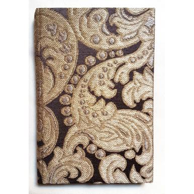 Carnet de Notes Couverture Tissu Brocatelle de Soie Rubelli Tebaldo Marron et Or