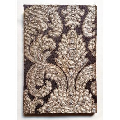 Quaderno con Copertina Rivestita in Tessuto Broccatello di Seta Rubelli Tebaldo Marrone e Oro