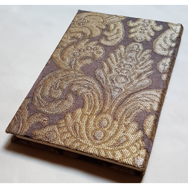 Rubelli Fabric Covered Journal Hardcover Notebook Silk Brocatelle Brown & Gold Tebaldo Pattern