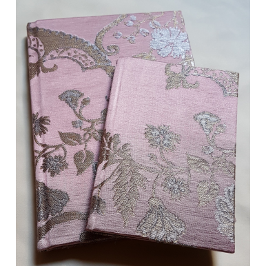 Rubelli Fabric Covered Journal Hardcover Notebook Silk Lampas Mauve & Gold Madama Butterfly Pattern