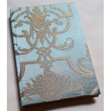 Carnet de Notes Couverture Tissu Brocade de Soie Rubelli Aida Bleu et Or