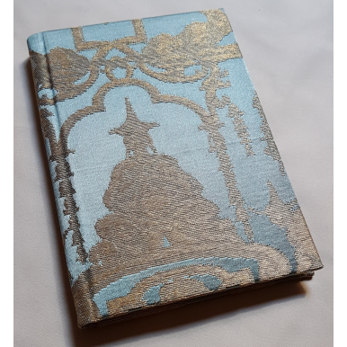 Rubelli Fabric Covered Journal Hardcover Notebook Silk Brocade Blue & Gold Aida Pattern