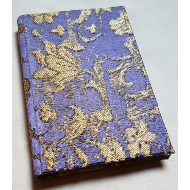 Rubelli Fabric Covered Journal Hardcover Notebook Silk Jacquard Purple & Gold Les Indes Galantes Pattern