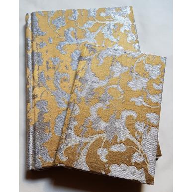 Carnet de Notes Couverture Tissu Jacquard de Soie Rubelli Les Indes Galantes Bronze et Argent
